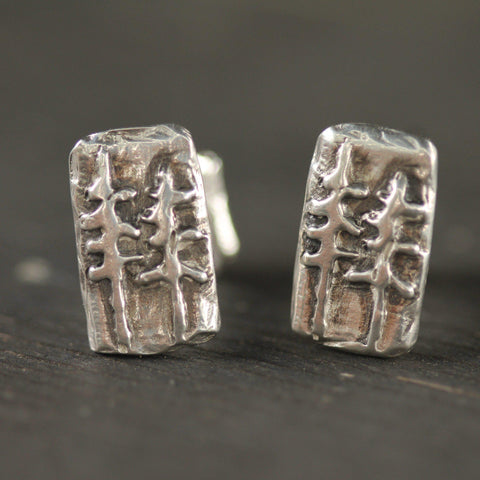 Hand carved west coast inspired cufflinks in sterling silver