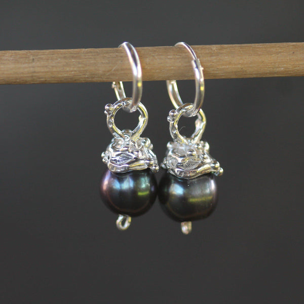 Black pearls set in sterling silver