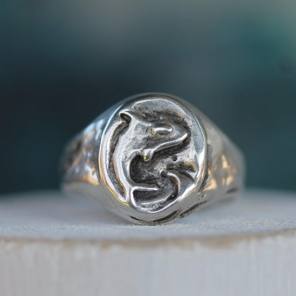Orca Sterling Silver Signet Ring--Emma Glover Designs