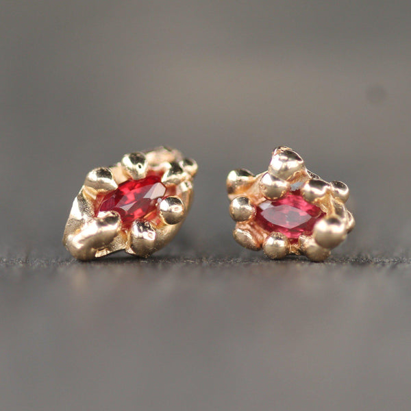Mermaid Mini Ruby Studs