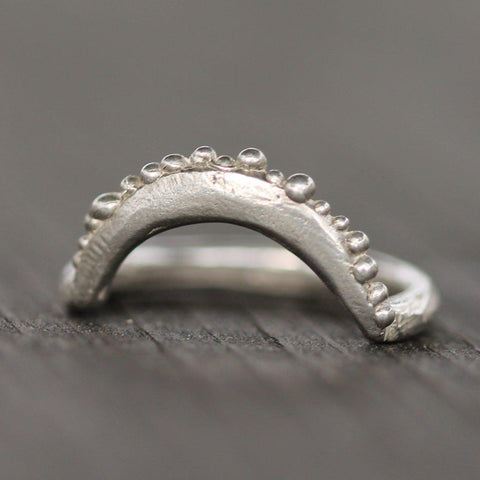 Hand carved reef moon ring in sterling silver.  Perfect ring to stack with another ring.