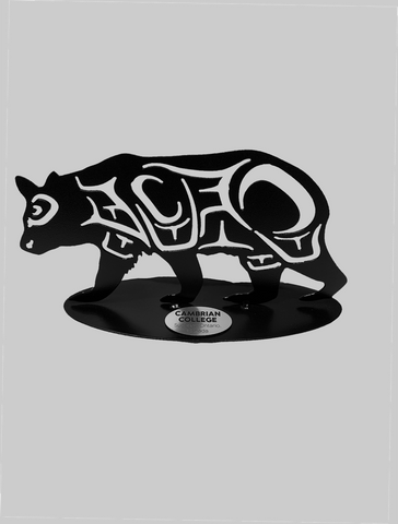 Canadian Corporate Gifts - Coast Salish Metal Art Bear with Engraved Plate