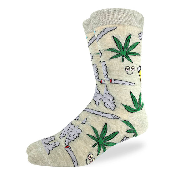 "These socks are sure to hit right and mellow you out... Marijuana leaves, lit joints, smoke, dazed smiley faces and lighters embellish these socks, all over a pastel yellow background. Perfect for a night with some ""buds"". 85% Cotton, 10% Polyester, 5% Spandex"