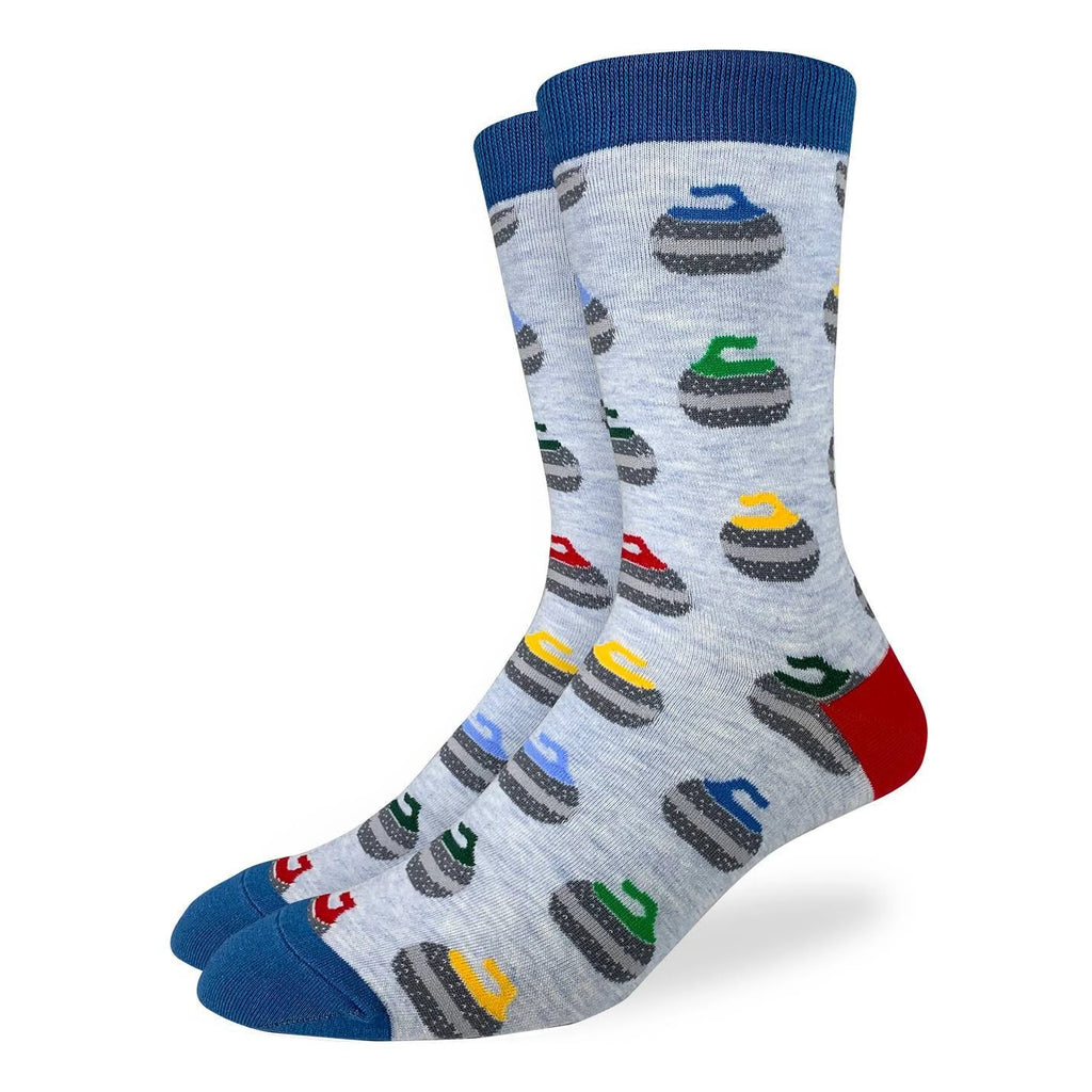 These socks feature several different colours of curling stones. Perfect for the curling enthusiast. These socks are a very light blue with a blue cuff and toe, and a red heel.  85% Cotton, 10% Polyester, 5% Spandex