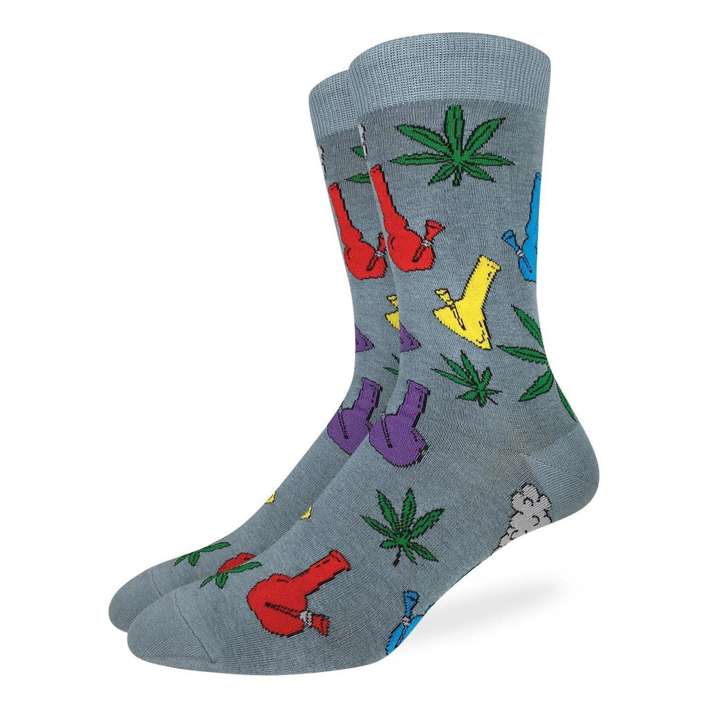 "These socks are sure to hit right and mellow you out... different colours and styles of bongs and cannabis leaves embellish these socks. Perfect for a night with some ""buds"". 85% Cotton, 10% Polyester, 5% Spandex"