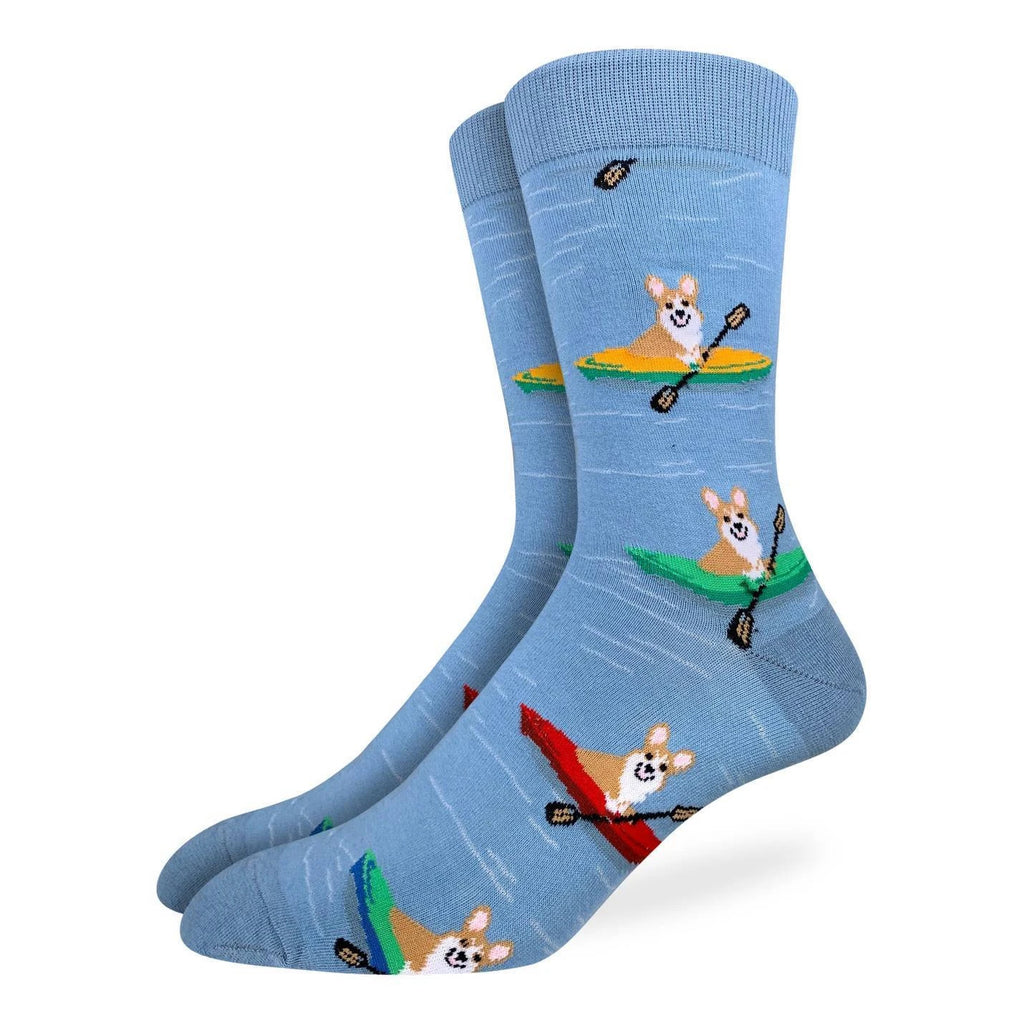 Calling all corgi lovers! These socks' design features corgis in kayaks, on the water. These socks are light blue with water ripples. How can you resist petting a cute kayaking corgi? This sock print is perfect for the dog-loving outdoor enthusiast. These socks are sure to complement your next dog-park adventure outfit.