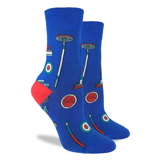 These fun socks feature red, white, and blue curling rings, rocks, and brushes on a blue background with a red heel. Spandex added to the 85% cotton blend gives the socks the perfect amount of stretch to hug your feet.
