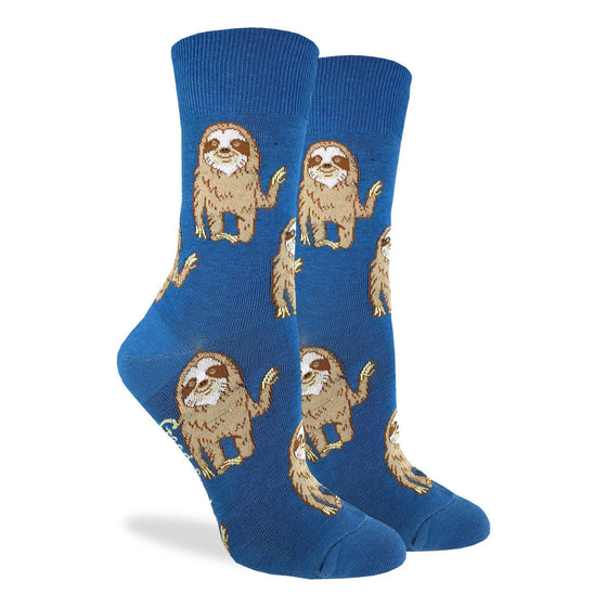 These fun socks feature happy, waving sloths on a blue background. Spandex added to the 85% cotton blend gives the socks the perfect amount of stretch to hug your feet.
