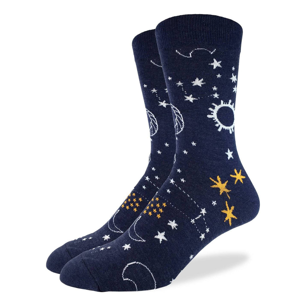 These fun socks feature white and yellow stars, moons, planets, and constellations on a dark blue background. Spandex added to the 85% cotton blend gives the socks the perfect amount of stretch to hug your feet.