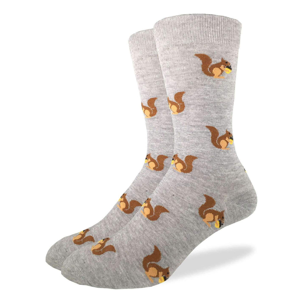 These fun socks feature brown squirrels sitting holding an acorn on a grey background. Spandex added to the 85% cotton blend gives the socks the perfect amount of stretch to hug your feet.