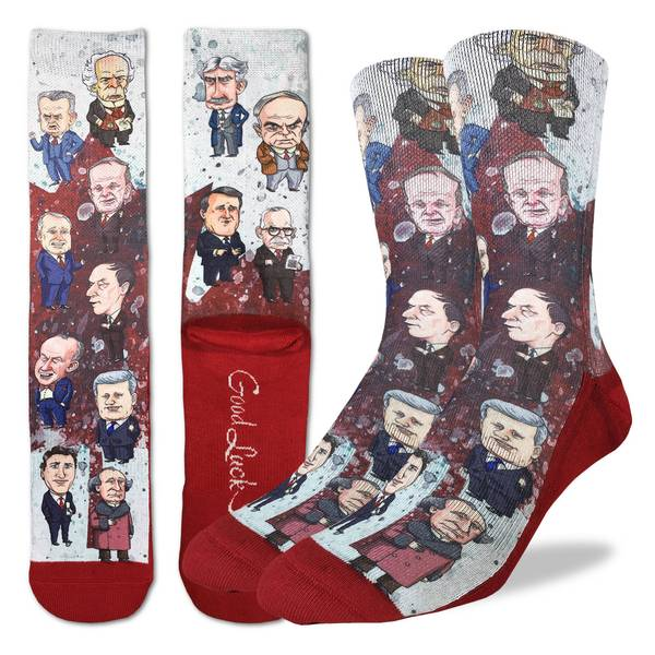These fun socks feature caricatures of some of the most well known prime ministers such as Brian Mulroney, Jean Chrétien, John A. Macdonald, John Diefenbaker, Justin Trudeau, Lester Pearson, Louis St. Laurent, Paul Martin Jr., Pierre Trudeau, Sir Robert Borden, Stephen Harper, Wilfrid Laurier, and William Lyon Mackenzie King. The sole, toe, and heel of the socks are red. The active fit socks sport elastic arch bands to contour to your feet and provide support.