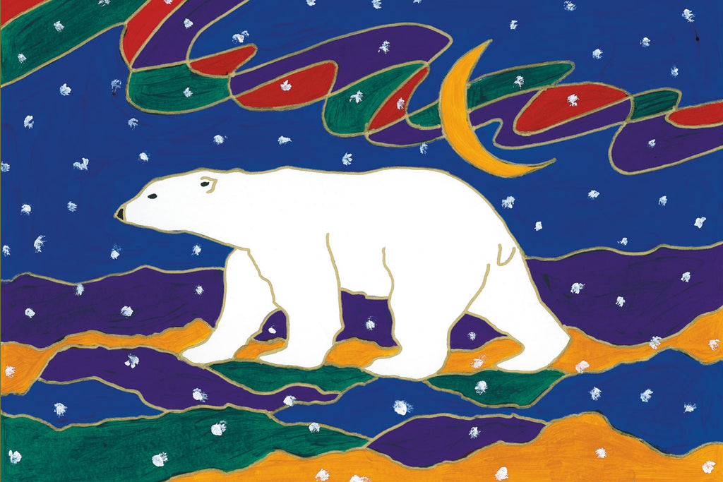 A polar bear walks right to left across the picture. The landscape is made of abstract mounds of dark blue, green, and yellow. A crescent moon and a wavy aurora hang in the night sky. The picture is full of white spots, suggesting it is snowing. This Canadian Indigenous print was painted by Dawn Oman, a Dene artist from Yellowknife, North West Territories.