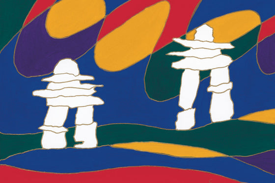 Two white Inukshuk stand in a colourful landscape. The sky is dark blue. The land is made of strips of green, red, yellow, and blue. An abstract aurora coloured red, yellow, green and purple hangs in the sky behind the Inukshuk. This Canadian Indigenous print was painted by Dawn Oman, a Dene artist from Yellowknife, North West Territories.