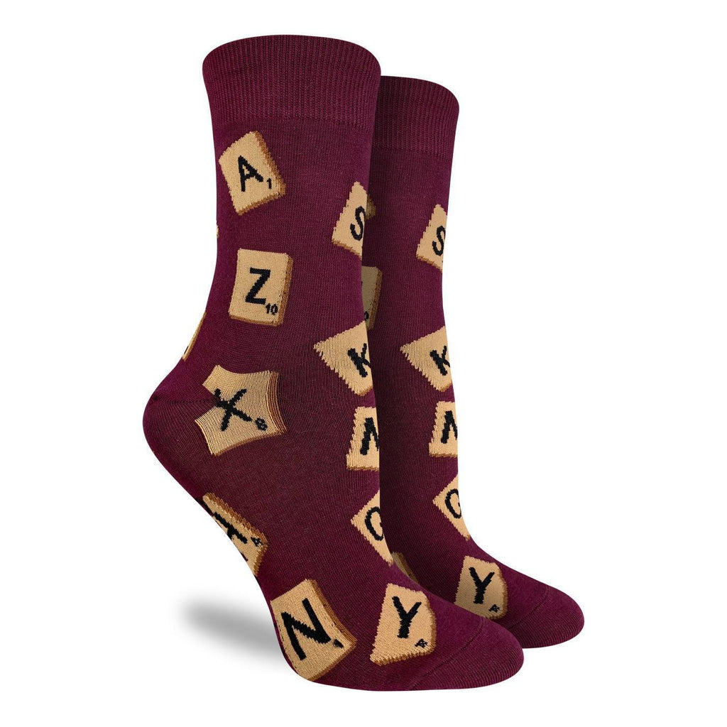 These maroon coloured socks are ready to bestow linguistic excellence on whoever wears them. Featuring several letter tiles, these socks are perfect for scrabble lovers. 85% Cotton, 10% Polyester, 5% Spandex
