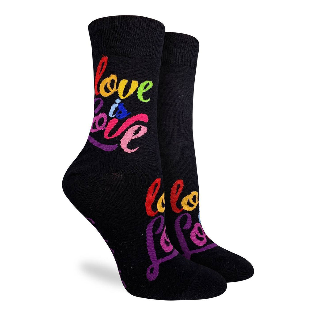 "Show your pride and support with these progressive socks, they are black with rainbow coloured ""Love is love"" script on both the top of the foot and the leg. Great for spreading love and positivity everywhere you go!"