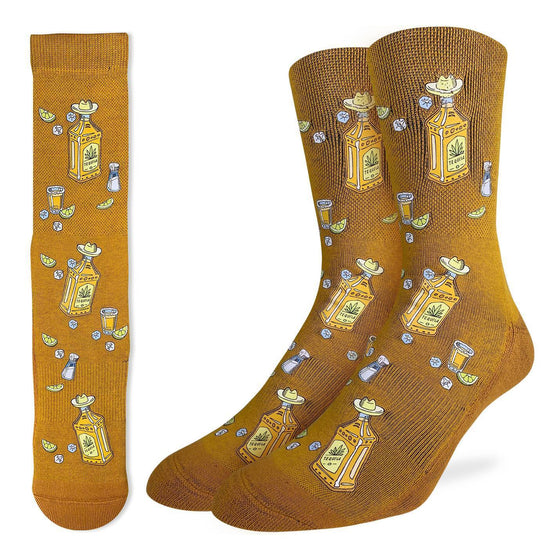 Break out the limes, the salt and a few glasses... It's Tequila time! These socks are a mustard colour and have bottles of tequila with little sombreros on. 48% Polyester, 45% Cotton, 5% Elastic, 2% Spandex