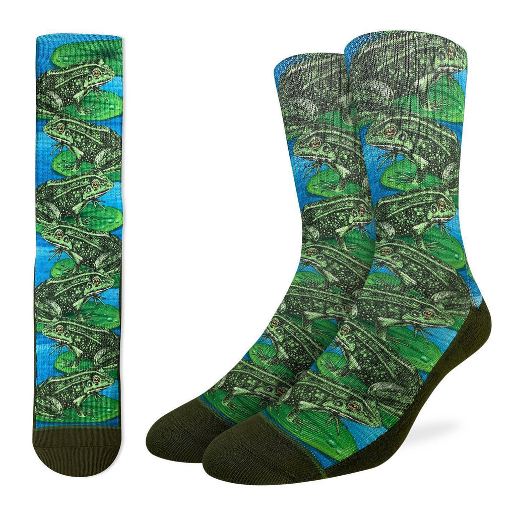 These socks have several frogs on Lilly pads. For the days when it's just the mood to chill out on the water. We could all take a page from a frog's book 48% Polyester, 45% Cotton, 5% Elastic, 2% Spandex