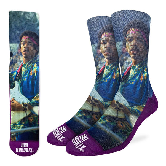 Jimi Hendrix is Widely considered to be the best guitar player in history. Whether you're shredding a sick Stratocaster or strumming a soulful Taylor, these socks are sure to help you channel your inner guitar hero. 48% Polyester, 45% Cotton, 5% Elastic, 2% Spandex