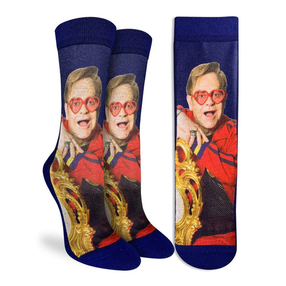 These Blue active fit socks feature the boisterous Sir Elton John clad in a red Gucci tracksuit and red heart framed glasses. 48% Polyester, 45% Cotton, 5% Elastic, 2% Spandex