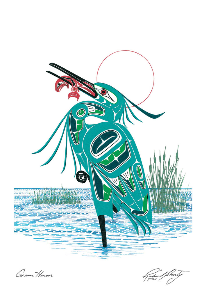 A heron stands in the middle of a lake. The heron is mainly blue green. Bright green u-shapes and white trigons form the details of its neck and wings. The heron stands on one foot, with the other curled under its body.  Its head is thrown back. It has a red fish in its beak. A thin red circle halos the heron's head. This Canadian Indigenous print was painted by Richard Shorty. He is from the Yukon's Northern Tuchone Tribe.