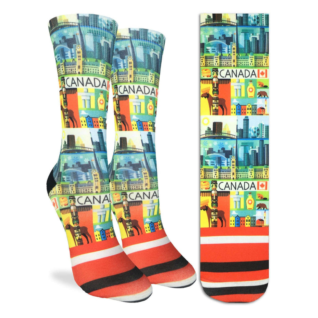 These fun socks feature all manors of Canadian symbols, including a moose, totem pole, beaver, inukshuk, parliament hill, the Toronto skyline, and of course maple syrup. The active fit socks sport elastic arch bands to contour to your feet and provide support.