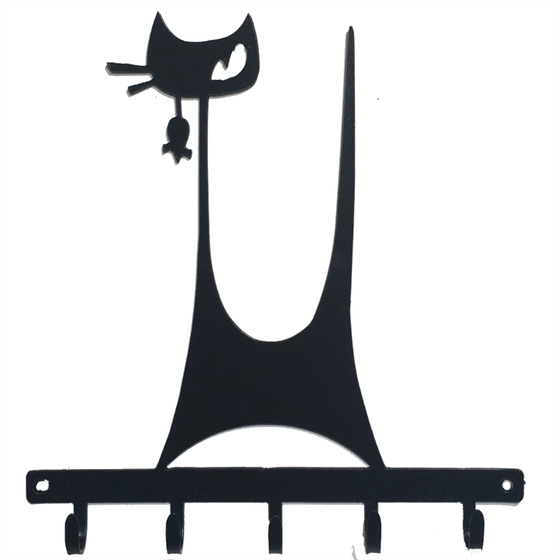 This metal sculpture shows the mate black silhouette of a highly stylized cat. It has a tall thin tail and large head on a tall thin neck. It has two whiskers and a single, cunning right eye.  A small mouse dangles from the cat's mouth. The cat stands on a metal strip from which five hooks emerge. The metal strip has two holes punched through it, allowing the piece to be nailed or screwed into a wall.