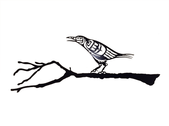 This metal sculpture shows the matte black silhouette of a crow drawn in Coastal Salish style. It is leaning forward with its beak slightly open, as if gently cawing. Coastal Salish shapes provide detail to its face and wings. This crow stands on a realistic branch with small knots, bumps, and broken twig ends.