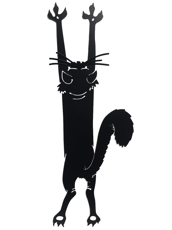 This metal sculpture shows the matte black silhouette of a stylized cat. It appears to be hanging from the wall by its front claws. Delicately punched metal forms the details of the cats head, as well as a clever perspective trick on the tail. The bushy tail appears to extend toward the viewer despite being totally flat. Two small holes are punched through the cat's front paws, allowing the piece to be nailed or screwed into a wall.