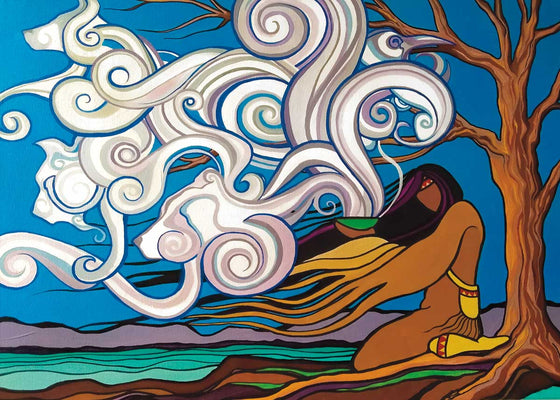 An aboriginal figure kneels beside a lake. They are holding a bowl. Smoke rises from the bowl and turns into the shape of animal heads. Canadian First Nations artist Pam Cailloux is a Metis artist from Chibougamau, Quebec.