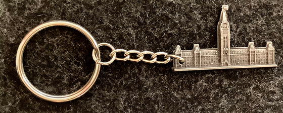 Pewter Canadian parliament building attached to a small chain and a key ring