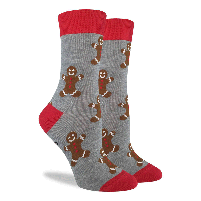 These festive socks feature happy gingerbread men on a grey background with bright red toe, heel, and rim. Spandex added to the 85% cotton blend gives the socks the perfect amount of stretch to hug your feet.