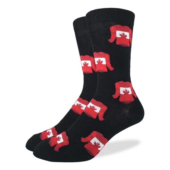 These fun socks feature red hockey jerseys with a white band round the chest and a red maple leaf in the middle. The rest of the sock is black, making the brightly coloured jerseys stand out. Spandex added to the 85% cotton blend gives the socks the perfect amount of stretch to hug your feet.