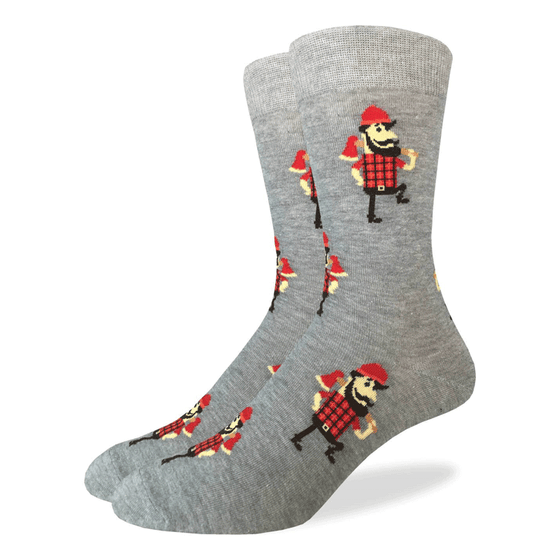 These fun socks feature bearded lumberjacks sporting a red hat, red and black plaid shirt, and an axe over his shoulder, on a base of speckled grey. Spandex added to the 85% cotton blend gives the socks the perfect amount of stretch to hug your feet.