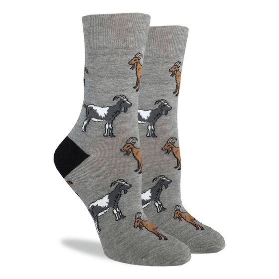 These fun socks feature brown, and grey and white goats on a grey background with a black heel. Spandex added to the 85% cotton blend gives the socks the perfect amount of stretch to hug your feet.