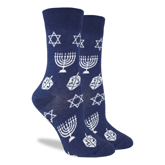 These fun socks feature the white outlines of a menorah, dreidel, and the Star of David on a base of blue. Spandex added to the 85% cotton blend gives the socks the perfect amount of stretch to hug your feet.