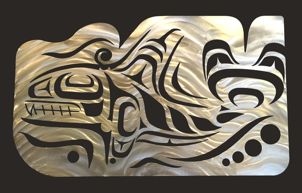 Coast Salish Whale Wall Sculpture - Metal Art - Made In Canada Gifts - 1