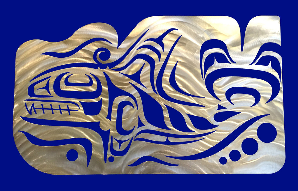 A Coastal Salish Orca wall sculpture on a blue background.