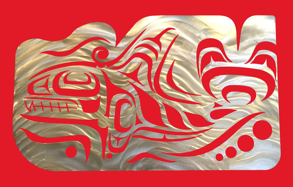 A Coastal Salish Orca wall sculpture on a red background.