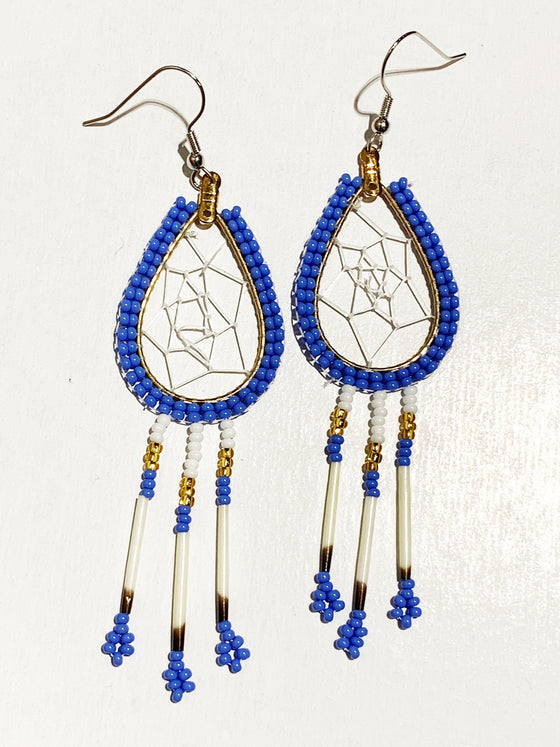 First Nations Porcupine Quill Earrings - Blue