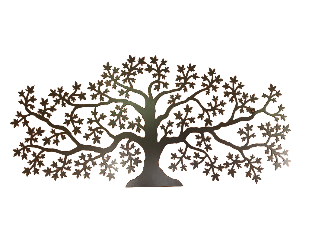 This metal sculpture shows the matte black silhouette of a sprawling maple tree, twice as wide as it is tall. Each splits several times and ends in a spray of delicate leaves, creating a full and elegant piece. In this photo, light reflecting off of the tree makes is appear dark grey.