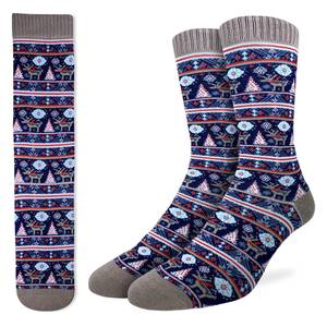 These festive socks feature ugly Christmas sweater style red, white, and blue stripes, trees, snowflakes, and reindeer. The heel, toe, and cuff of the socks are an ashy grey. The active fit socks sport elastic arch bands to contour to your feet and provide support.