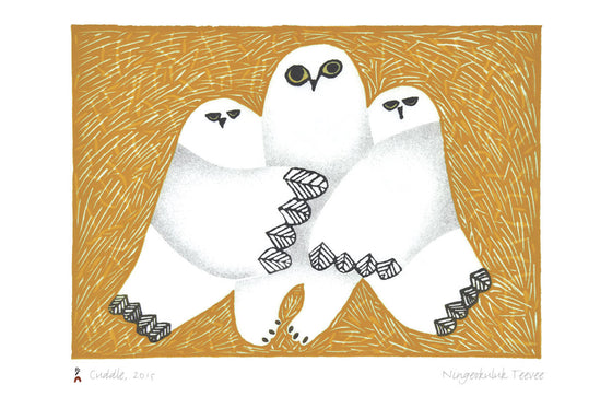 Two snowy owls hug a larger central snowy owl with their wings. The two smaller owls stare at the viewer with lidded eyes, while the large one stares with wide eyes. The background is dark yellow with thin white hatch marks, creating a rough texture. This Canadian Indigenous print was created by Inuit artist Ningeokuluk Teevee, born in Cape Dorset, Nunavut.