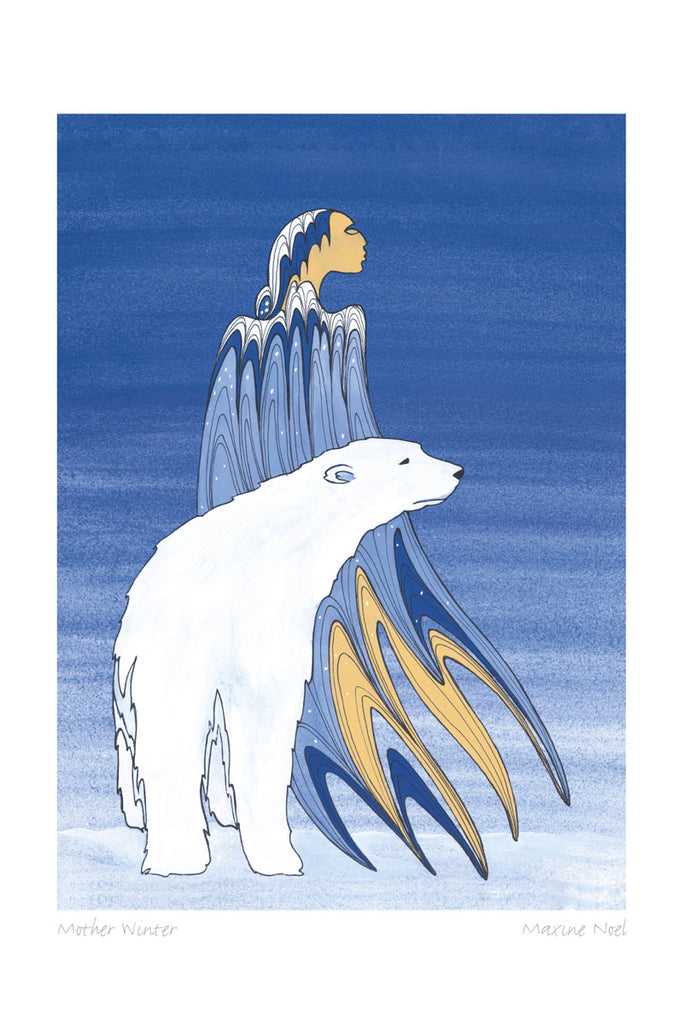 A woman and a polar bear stand together in a dark, snowy landscape. The woman is wearing a blue cloak or dress. Her shoulders and the top of her hair are white, suggesting snow. This Canadian Indigenous print was painted by Maxine Noel, a Sioux artist born on the Birdtail Reserve, Manitoba.