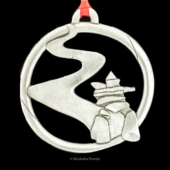 Inukshuk on a Path Pewter Ornament