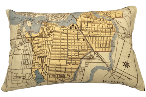 City of Ottawa Map Pillow