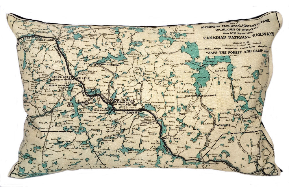 Algonquin Park Map Pillow