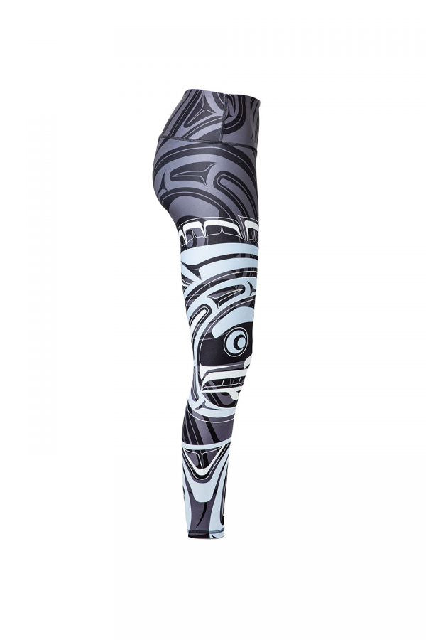 The wolf moon leggings viewed from the right, providing another view of the moon motif.