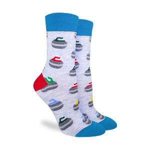 These fun socks feature curling stones with red, yellow, green, and blue handles. The socks are a light grey with blue toes and cuffs and red heels.