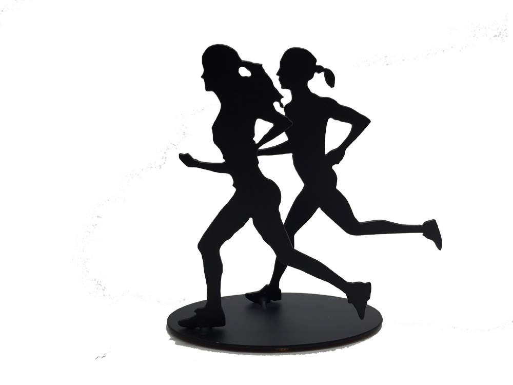 This sculpture shows two female figures running together. As before, both are moving quickly, with one foot planted on the ground and arms in full motion.