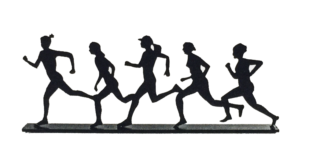 This metal sculpture shows the matte black silhouette of five female runners in a line. Each figure is unique. They are running right to left. Their wide stances and swinging arms suggest they are moving very quickly. The legs of some runners overlap. This piece sits on a narrow rectangular base. This piece is also available in a mixed gender design.